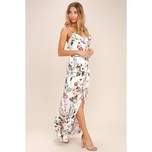 Lulu's Bloom On Ivory Floral Print Maxi Dress